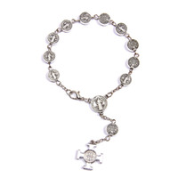 antique rosary bracelet - Antique silver plated mm Beads Adjustable Rosary Bracelet Crucifix Cross St Benedict Saint Catholic Gift