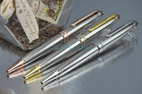 art waves - M163 High Quality Office School Stationery Luxury Ballpoint Pen Wave of Silver Pattern Silver Golden Rose Golden Clip
