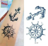 anchor temporary tattoos - Temporary tattoos Waterproof tattoo stickers body art Painting for party event decoration anchor rudder