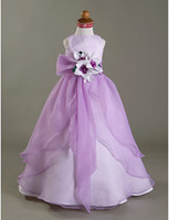 Model Pictures Girl Hand Made Flower Flowergirl Dress Purple Organza A-line Long Floor Length Weddings Party Gowns 2015 Girls Pageant Dresses Custom Size Made Gown For Child