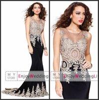 silk dress - New Sexy Sheer Sleeveless Satin Mermaid Floor Length Evening Dresses Lace Applique Prom Dresses SK3935