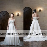 anjolique wedding gowns - 2016 New Designer A Line Wedding Dresses Strappless Sexy Backless Covered Bottom Court Train Anjolique Bridal Gowns Plus Size