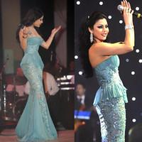 arabic singers - 2015 Sexy Arabic Blue Celebrity Dresses With Peplum Haifa Wehbe Lebanon Singer Myriam Fares Strapless Appliqued Tulle Mermaid Evening Gowns