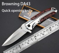 camping - New Browning DA43 folding hunting knife Cr15Mov wooden handle steel Tactical pocket knife outdoor camping knife survival tool