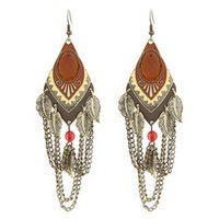 antique matches - European Fashion Jewelry All Match Exaggerate Antique Metal Long Design Leaves Tassel Women Earrings For Party