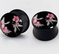 anodized screws - Gauges mm New Anodized Steel Black flower Flesh Tunnels Screw Fit Ear Expander Plug Body Piercing Jewelry
