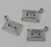 Charms music charm pendant - NEW Antiqued Silver Double Sided Cassette Tape Charm Pendant x23mm