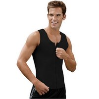 Wholesale Men Fashion Bodysuit Shaperwear Latex Black Vest Plus Size Waistcoat with Zipper Slim Body Shaperwear Espartilho Corset Corselet Undershirts