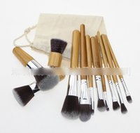 high quality cosmetics makeup - 11pcs Professional High Quality Bamboo Makeup Brush Set Goat Hair Cosmetic Makeup Brushes Kit With Bag Make Up Tools Cosmetic Brushes DB