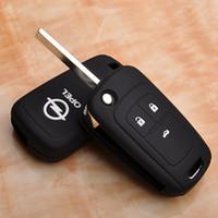 astra zafira - Black silicone protection covers for Opel Astra Corsa Antara Meriva Zafira Insignia key case shell stickers man s woman s key chain
