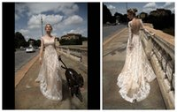 Wholesale 2016 Vintage Lace Wedding Dresses Long Sleeve Sheer Tulle with Appliqued Backless Champagne Goddess Vestido de Novia Garden Bridal Gowns DH7