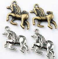 antique bronze earrings - MIC x16mm Antique Silver Bronze Fairy tale Kid Unicorn Charms Pendants Fashion Jewelry Fit Bracelets Necklace Earrings L094