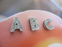 Wholesale 8mm rhinestone slide letter A Z English alphabet diy charms fit mm Bracelets women Pet collars