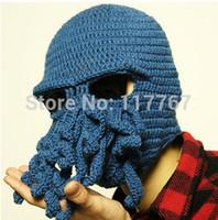 Wholesale Novelty Handmade Knitting Wool Funny Beard Octopus Hats Caps Crochet Knight Beanies For Men Unisex Gift