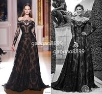 art buyer - Real Buyer Show Amazing Black Lace Beaded Off shoulder Long Sleeve Zuhair Murad Evening Dresses Dubai Arabic Style Occasion Dress