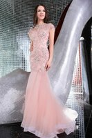 Wholesale Short Sexy Nude Crystal Dress - Mermaid Evening Dresses 2016 With Capped Sleeve Long Formal Party Gowns W4373 Rhinestones High Quality Stunning Crystal Custom Made Fashion