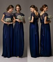 Wholesale Navy Blue Bateau Sheer Lace Long Cheap Junior bridesmaid Dresses Cap Sleeves Floor Length Prom Gowns Wedding Party Dresses