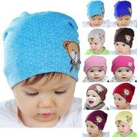 achat en gros de bébé ours à vendre-Hot ventes du nouveau-né bébé Enfants Enfants Chapeau chaud Crochet mignon ours en coton Beanie Hats Caps Livraison gratuite fx305