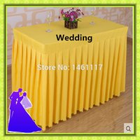 Wholesale rectangle polyester table skirt for event price