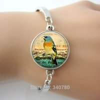 antique bird pictures - Eastern Blue bird bracelet bangle picture Glass Dome Pendant antique silver plated alloy and copper bangles bird on branch new