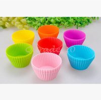 Wholesale 10000pcs CCA3446 Creative Candy Color Round Shape Silicone Muffin Cupcake Mould Case Bakeware Maker Mold Tray Baking Cup Liner Baking Molds
