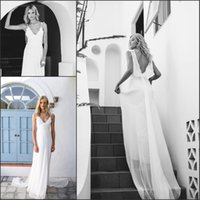 Wholesale Soft Chiffon Sheath - 2016 Flowing Soft Chiffon Spring Summer Wedding Dresses Spaghetti Straps Beach Sweep Train Bridal Gown Sheath Lace Appliques Sexy Back Dress