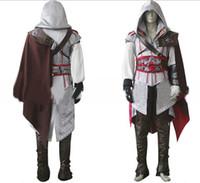 achat en gros de ezio costume-Creed II Ezio Auditore da Firenze Cosplay Cos Costume Assassin Pour Halloween Party cosplay expédition de baisse pour hommes