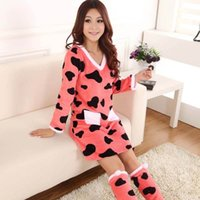 Wholesale women fleece long sleeve sleepwear nightwear nightgown with leg socks