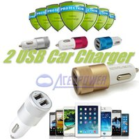 Wholesale Dual USB Port Car Adapter Charger Universal v A A Aluminium port Car Charger USB For Iphone6 Plus Samsung Galaxy ON5