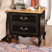 Wholesale Odd ranks yield US French countryside wood furniture Kang Side double drawer bedroom nightstand A section