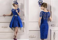 Wholesale Cheapest Modest Custom made Elegant Mother Lace Royal Blue Short Sleeves Evening Dress Mother of the bride Dresses JY1006