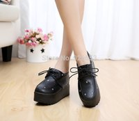 Wholesale Promotion Vintage Black Women Platform Creepers Flat Shoe Casual Lady Spring Summer Retro Shoes Size
