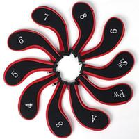 Wholesale 10 Golfs chlager Eisensatz Schlagerhauben Golf Clubs Zylinderkopfdeckel Kopf deckung rot schwarz New