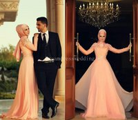 acrylic wedding columns - 2015 Modern Coral Muslim Evening Dresses High Neck Mermaid Appliques With Long Sleeves Custom Made Chiffon Prom Gowns Wedding Party Dress