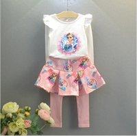 Wholesale Baby Girls Frozen Set Suit Autumn Children s Frozen Long Sleeve T shirt Tops Pantskirt Girl s Casual Sets Outfits Kids Clothing