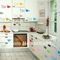 art for kids furniture - Hot Sale colors Happy Fish Removable PVC wall stickers Living room bathroom kitchen furniture Kids wall art
