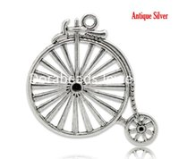 antique tin cans - Antique Silver Bicycle Charm Pendants x4 cm Can Hold Rhinestone sold per packet of B15092