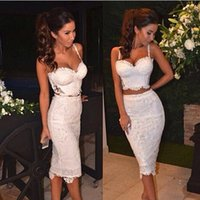 Wholesale Celebrity Sexy Lace two Pieces Bandage Dress Black White Casual Party Prom Evening Party Club dresses Women Two Piece Outfits Dresses YDQ001
