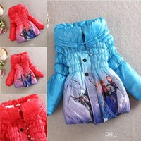 Wholesale New Arrival Winter Frozen Children s Down Coat Thickening Girl Long Cotton Padded Clothes Kids Down Jackets Outwear Fit Age BO6806