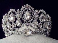 En Stock 2016 del vintage del pavo real de cristal tiara nupcial accesorios para el cabello para la boda Quinceañera tiaras y coronas Pageant Rhinestone Corona