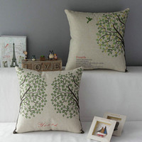 Wholesale Green Tree Pillow Case Bird Pillowcase Bedding Couch Cushion Cover cm Waist Back Throw Pillowcase Cotton Home