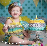 Wholesale Yellow Grey Teal Lace Petti Rompers Baby Cake Smash Ruffle Rompers st Birthday Outfit Photo Prop Baby Clothing