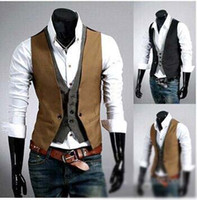 basic fashion pieces - Spring Fashion New Basic Casual Suit Vest Men Brand Quality Tank Tops Faux Two Piece Waistcoat FreeDrop Ship Plus Size XXXL