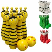 Wholesale New Arrival Lovely Mini Cartoon Wooden Bowling Ball Skittle Game Cute Animal Shape For Kids Children Toys x2 cm Color