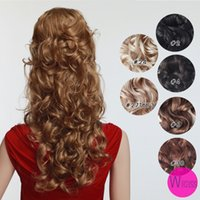 Wholesale 7 From cm black curly wavy Clip In Full Head Set Wig Hair Piece Extensions Hairpieces