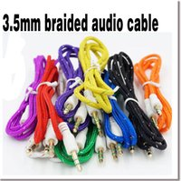 Wholesale Multi Color mm Jack Male To Male M M Stereo Audio AUX Auxiliary Braided Cable for iPod MP3 Car