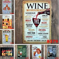 tin crafts - Wine from around the world tin signs home decor House Cafe Bar iron painting Metal Craft gift