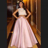 Wholesale 2015 Hot Party Dresses Two Pieces Jewel Neck Sleeveless Beaded Pink Satin Long Myriam Fares Prom Dresses Formal Gowns