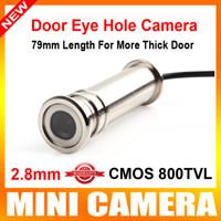 "Wholesale Security Camera Peepholes - 1 4"" 800tvl 2.8mm lens 79mm length Wired CCTV PEEPHOLE DOORVIEW Door Eye Hole Security Color Camera for more thick door"