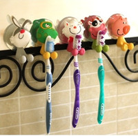 animal toothbrush - Creative Cartoon Hanging Toothbrush Holders Cute Animals Design Strong Wall Suction Cup Toothpaste Toothbrush Holder Bathroom Set MC
